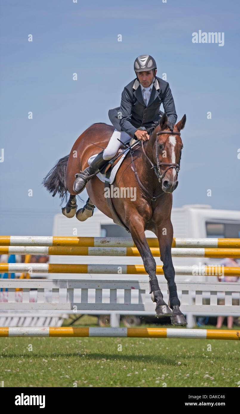 Stithians, UK. 15th July, 2013. Horse clears the fence during the show jumping contest at the Stithians show, Cornwall's - Stock Image