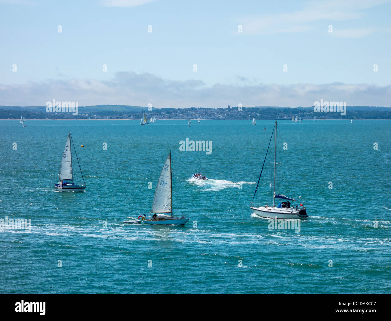 Boats on the Solent. Looking across to Ryde Isle of Wight - Stock Image