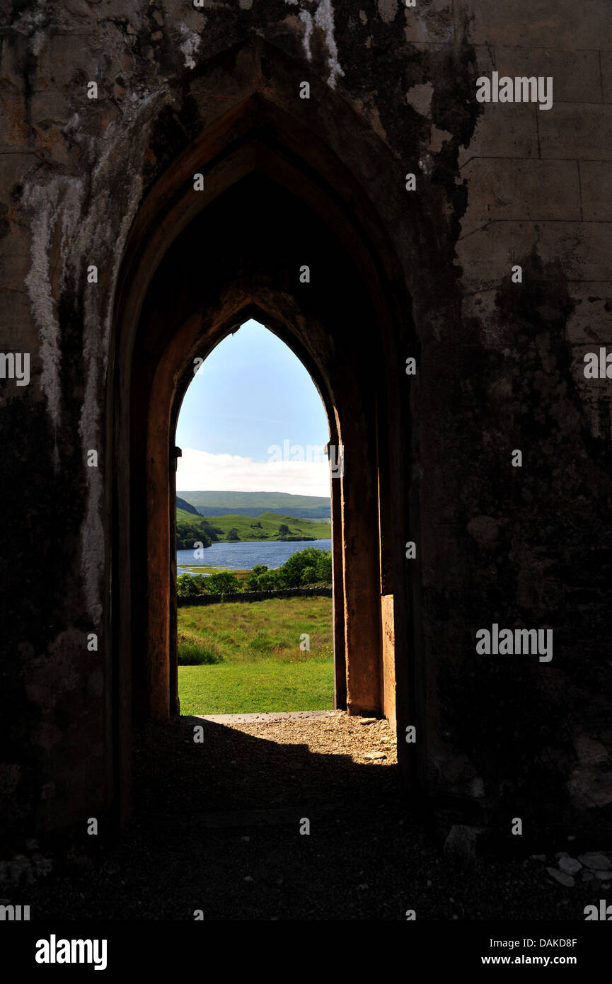 Doorway of ruin of Dunlewey Church of Ireland, Poisoned Glen, County Donegal, Ireland. - Stock Image