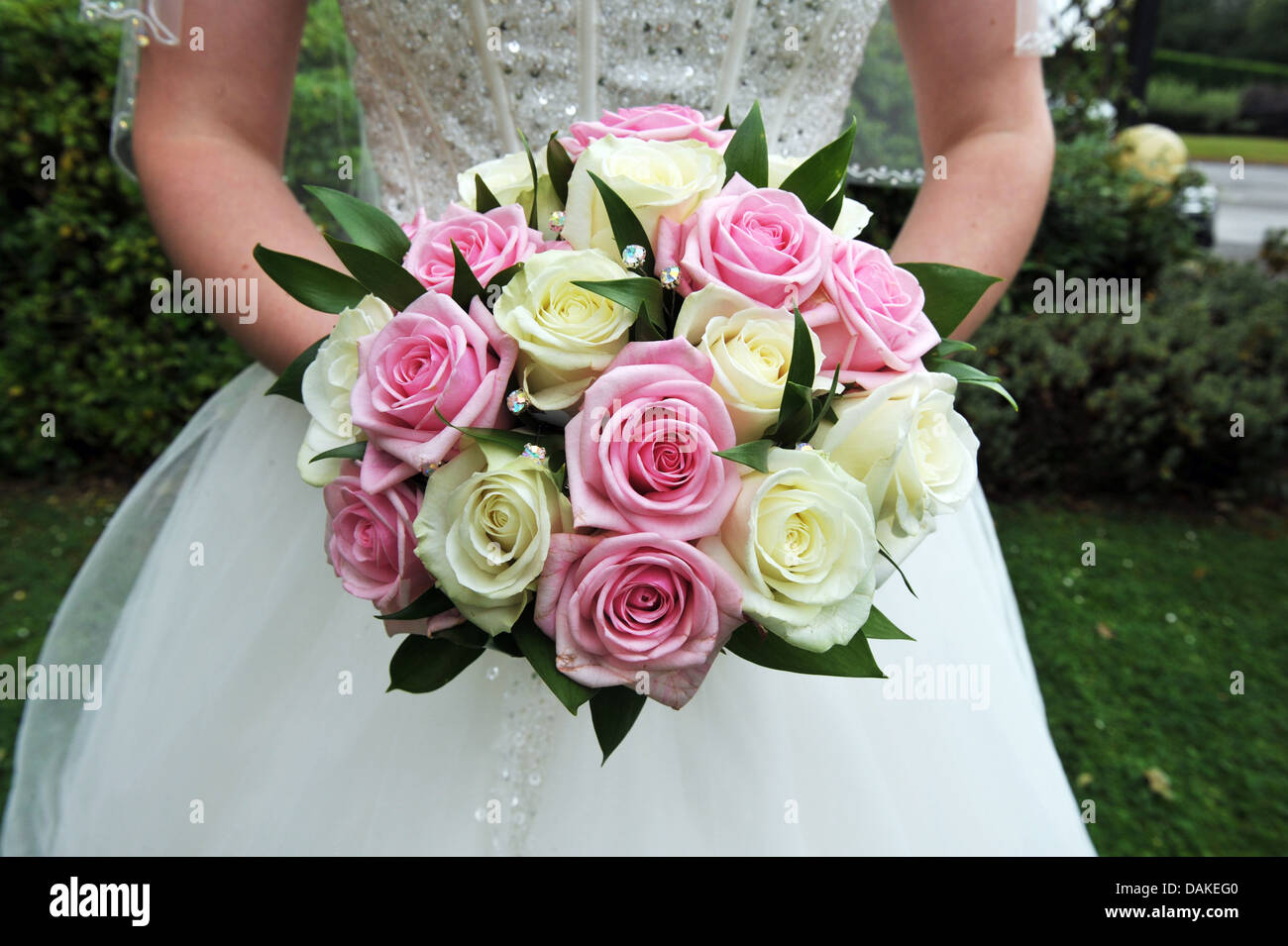 A Bridal Bouquet Of Pink And White Roses Stock Photo 58206176 Alamy