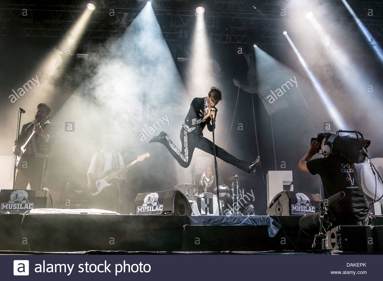 Swedish rock band The Hives performing live - Stock Image