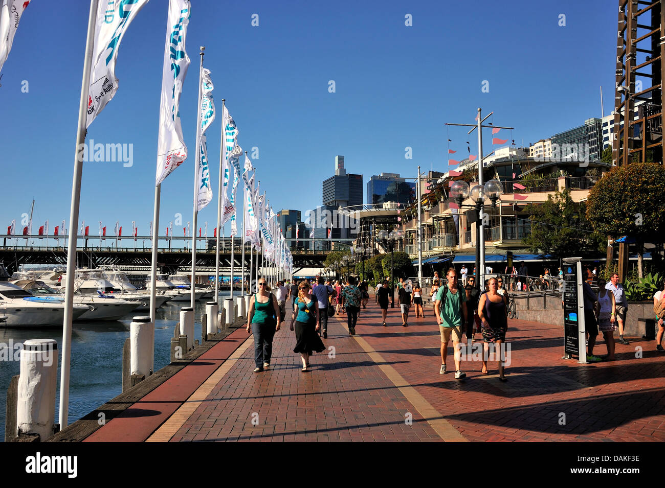 Cockle Bay Wharf at Darling Harbour. Sydney, New South Wales, AUSTRALIA - Stock Image