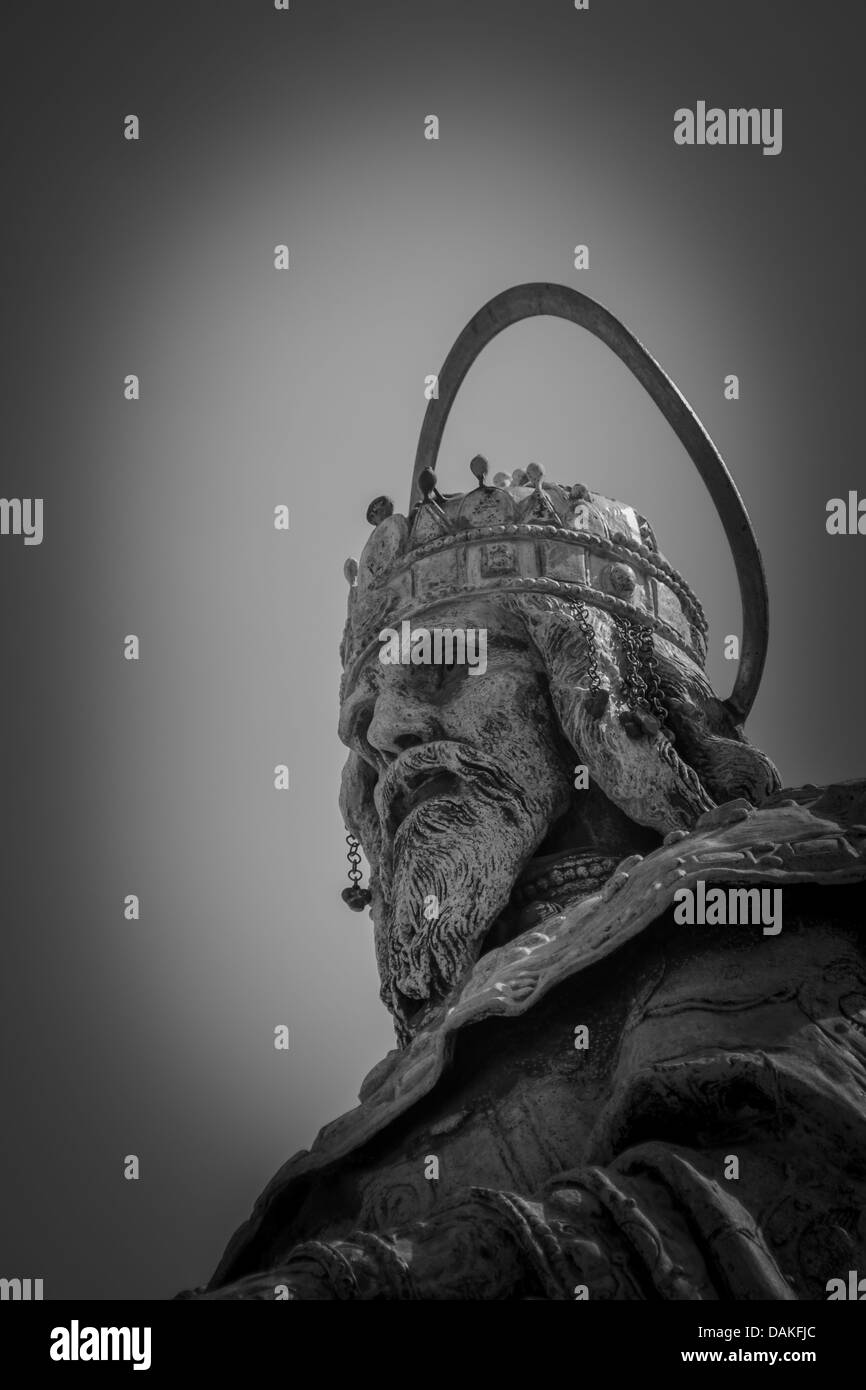 Closeup of a statue of Stephen I of Hungary at the Fisherman's Bastion in Budapest Stock Photo