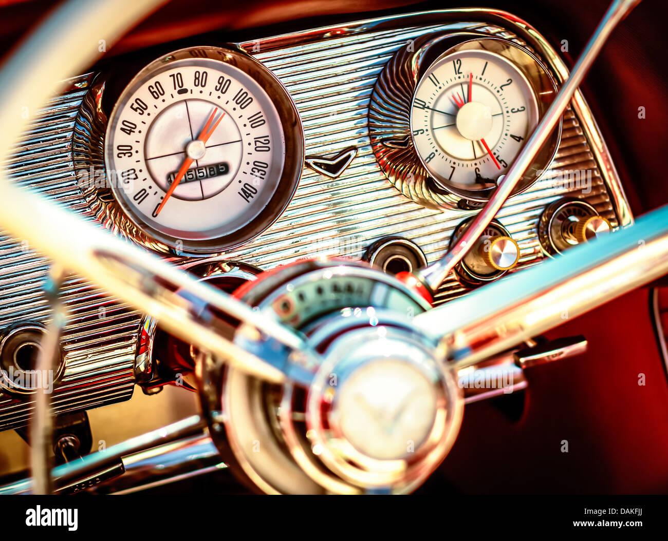 1960 Ford Thunderbird Dash - Stock Image