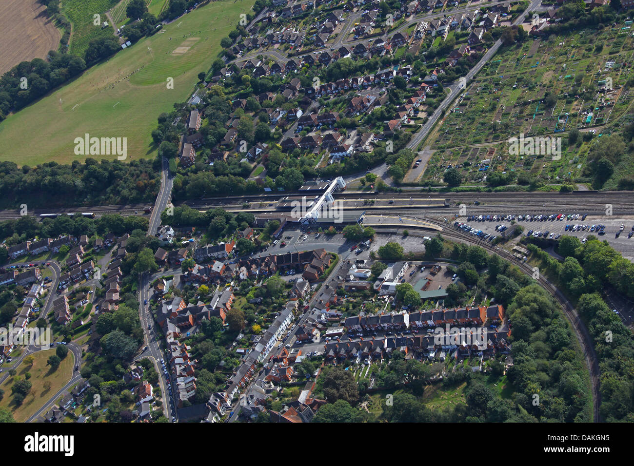 An aerial view of Twyford railway station showing the Branch line going off to Henley on Thames. - Stock Image