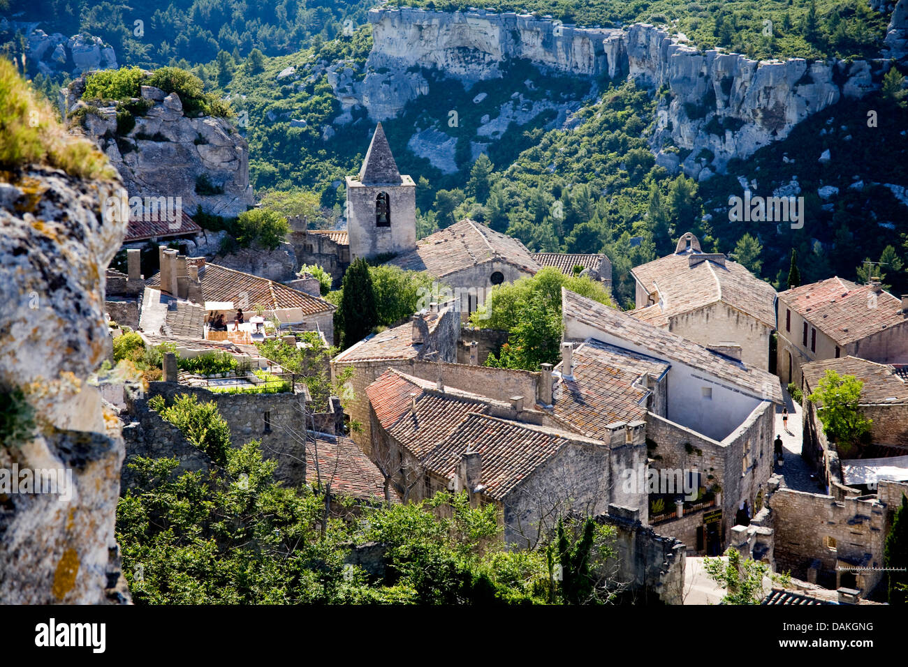 view to historical village centre, France, Provence, Les Baux-de-Provence - Stock Image