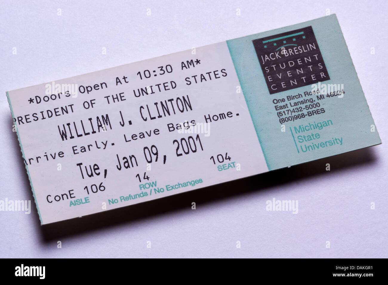 Ticket stub to a Bill Clinton speech at Michigan State University, Jan 9, 2001 - Stock Image