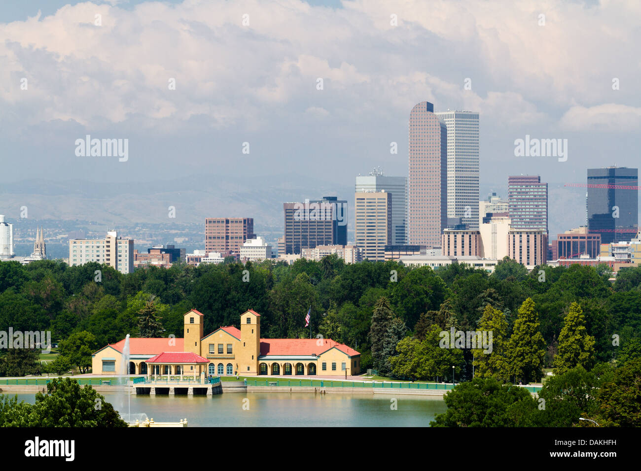 A View Of Downtown Denver From City Park Stock Photo
