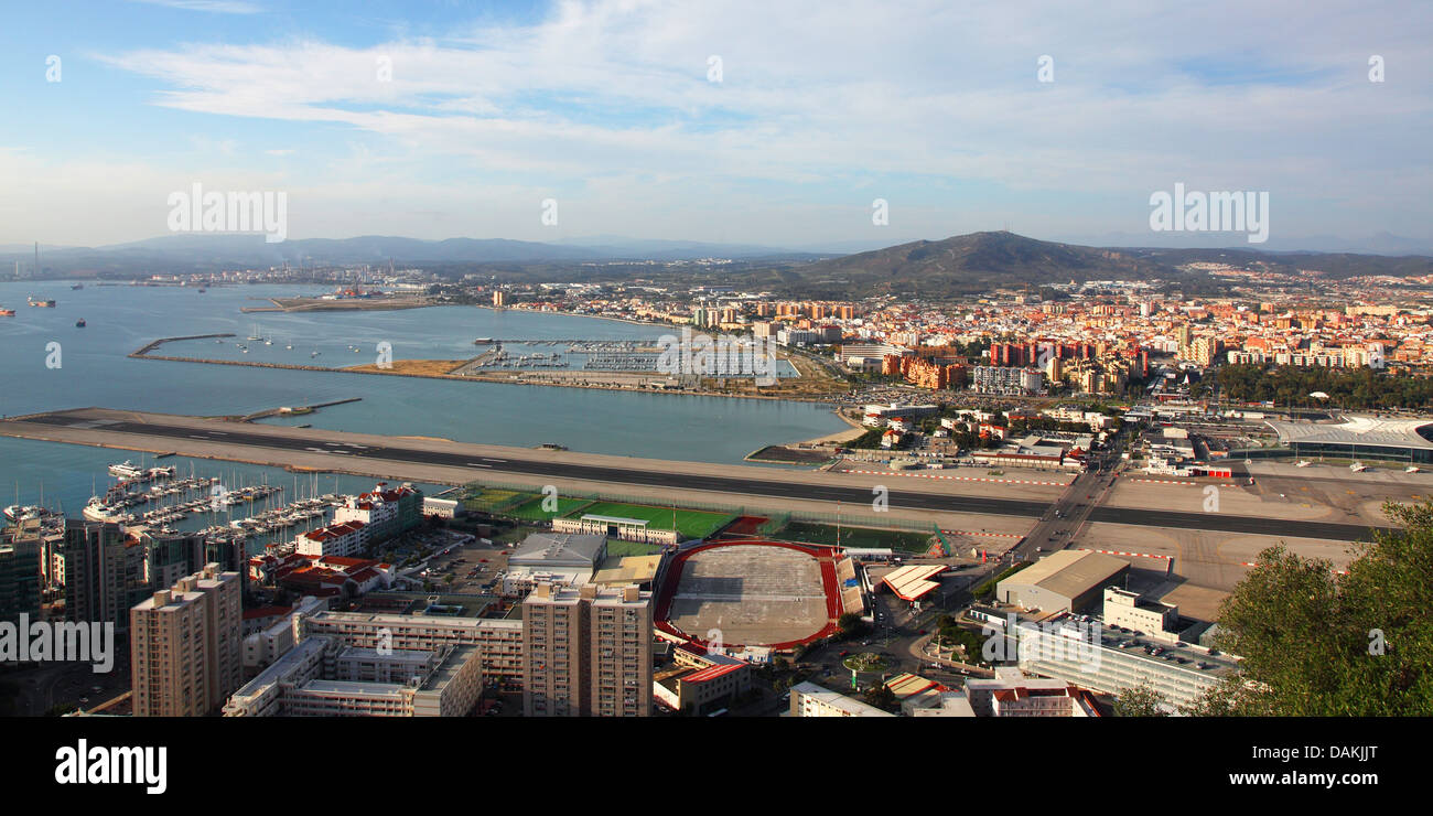view to airstrip and La Linea, Gibraltar - Stock Image