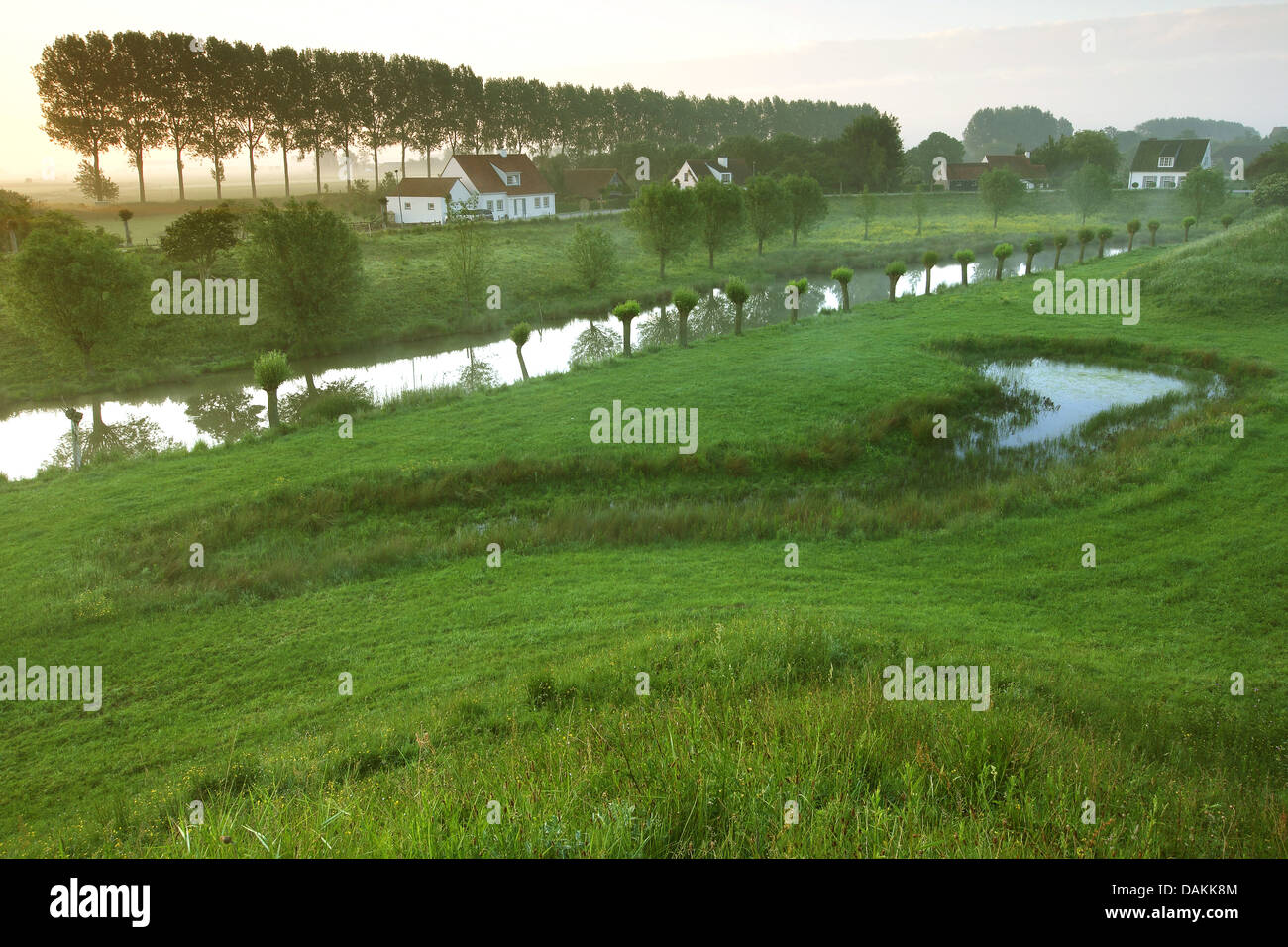 inland waterway and rural settlement, Netherlands, Retranchement, Sluis - Stock Image