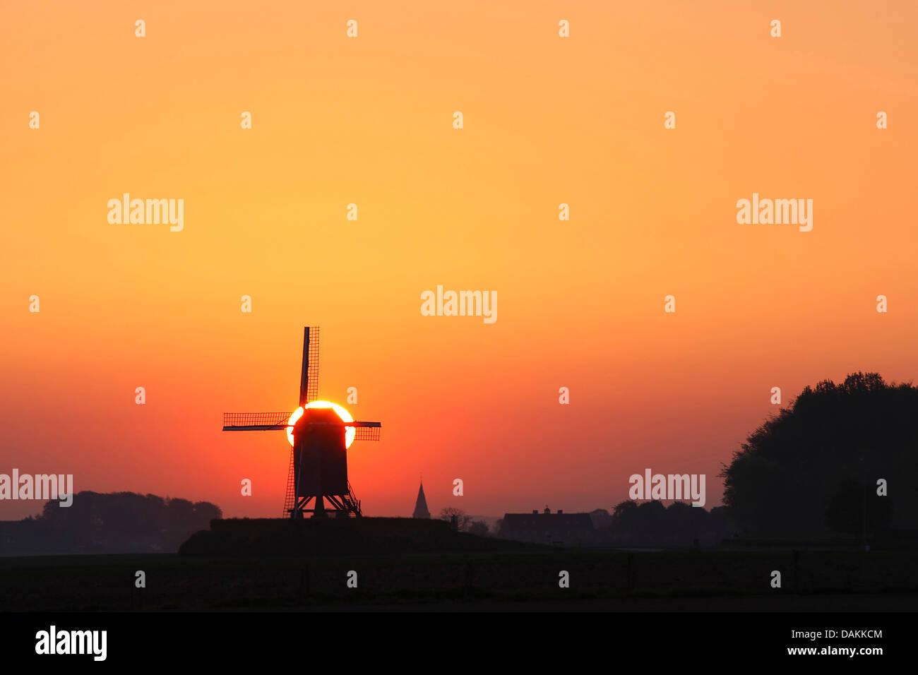 windmill at sunrise, Belgium, Ardennes - Stock Image