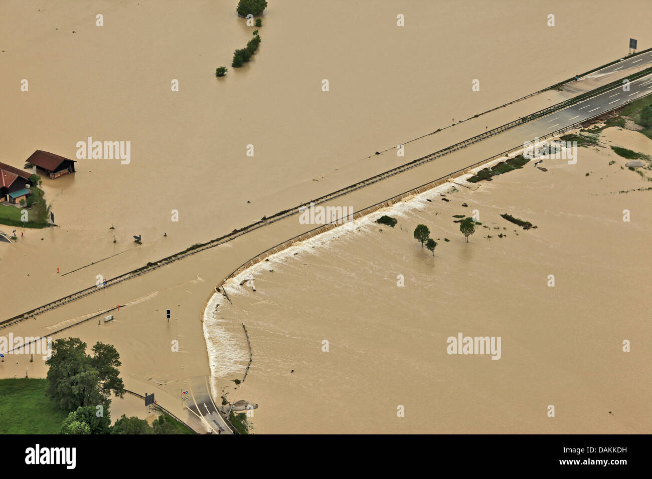 highway A8 at lake Chiemsee flooded bei river Tiroler Achen in June 2013, Germany, Bavaria - Stock Image