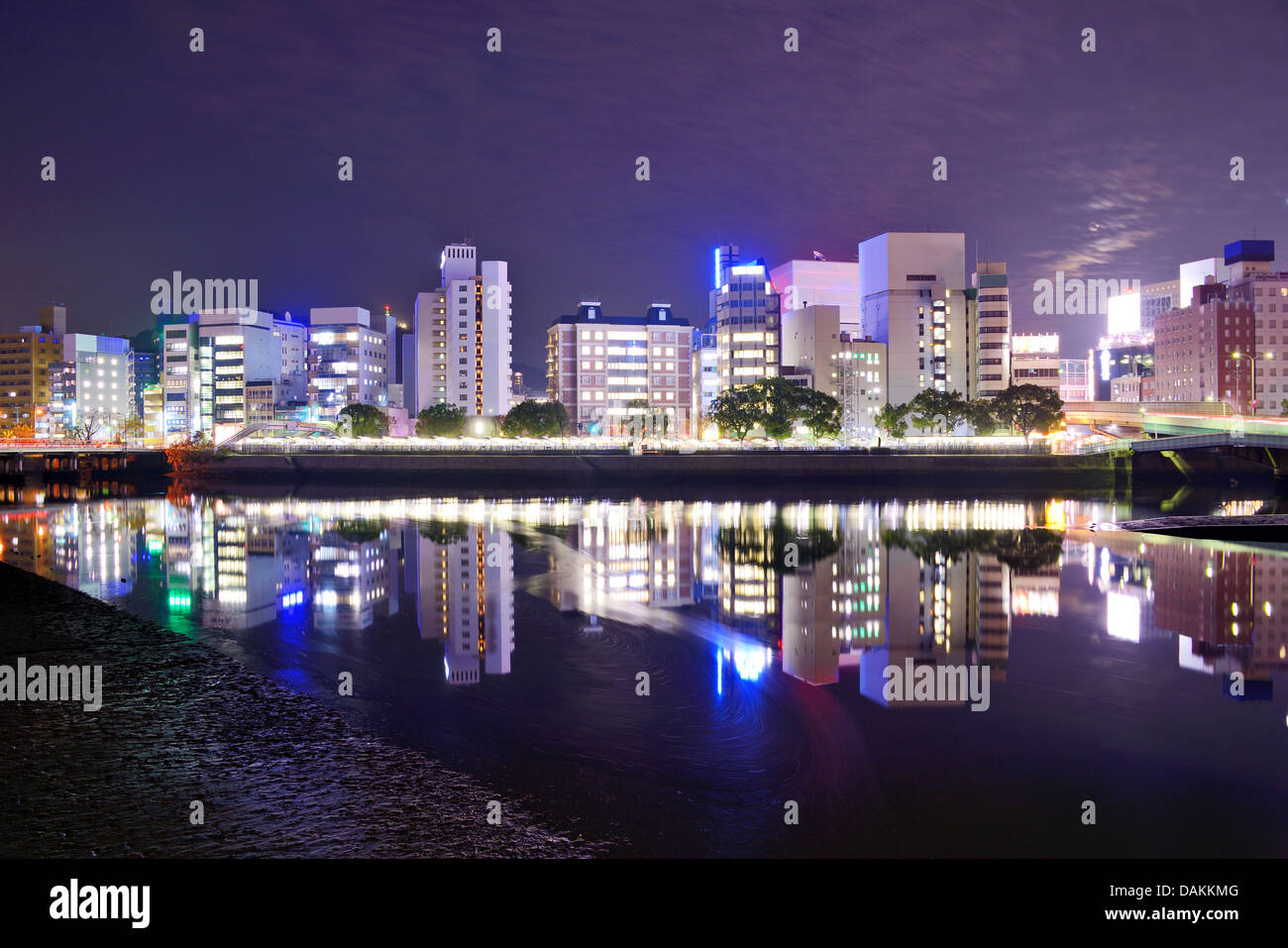 Hiroshima Japan Nighttime Cityscape On The Otagawa River