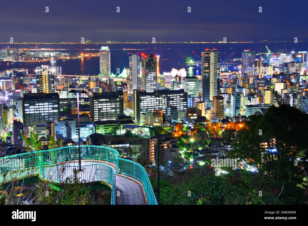 Kobe, Japan cityscape at night. - Stock Image