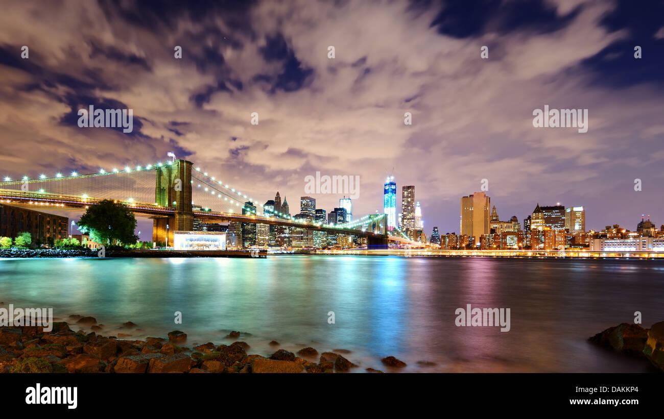 Lower Manhattan skyline viewed from Brooklyn in New York City. - Stock Image