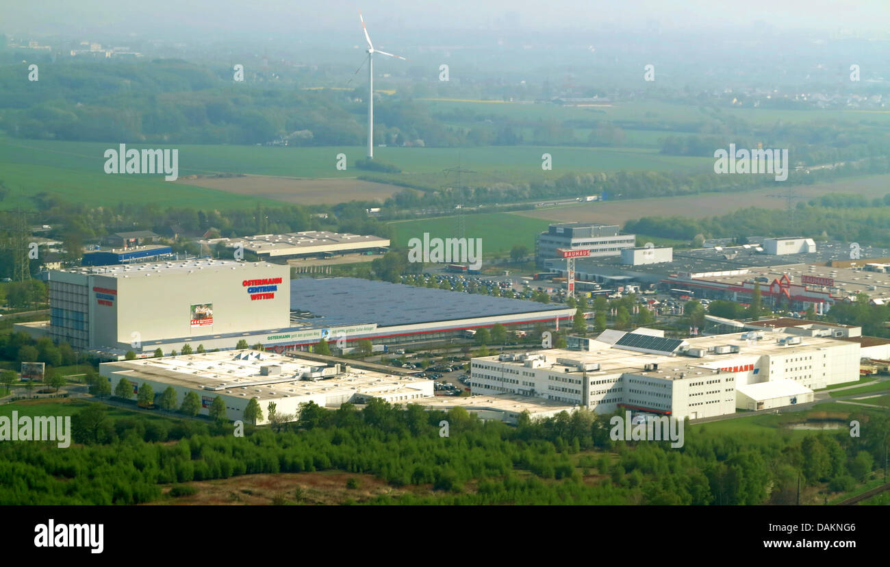 aerial view of a commercial areas in a field and forest landscape, Germany, North Rhine-Westphalia, Ruhr Area, Witten - Stock Image