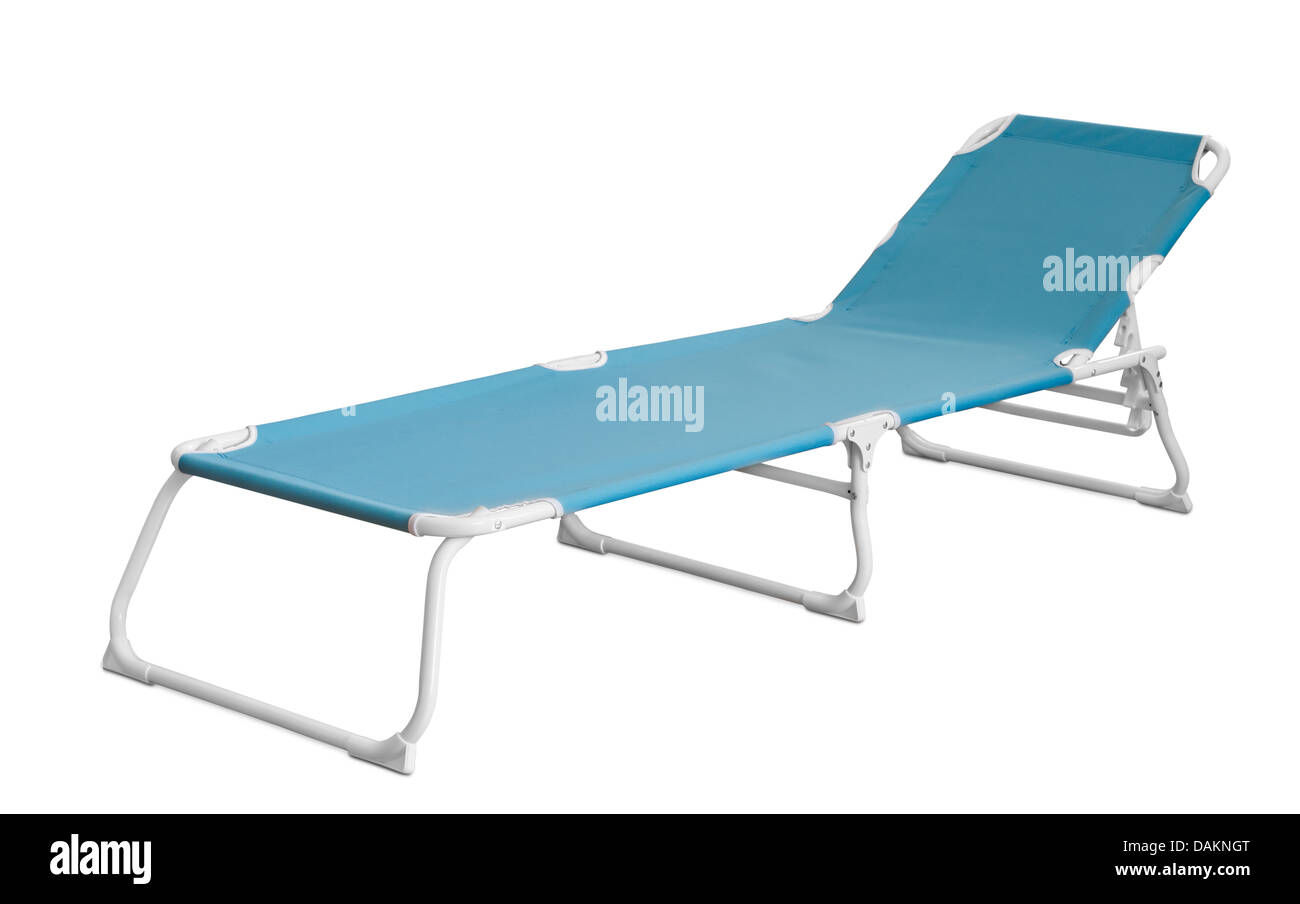 Blue camp cot isolated on white - Stock Image