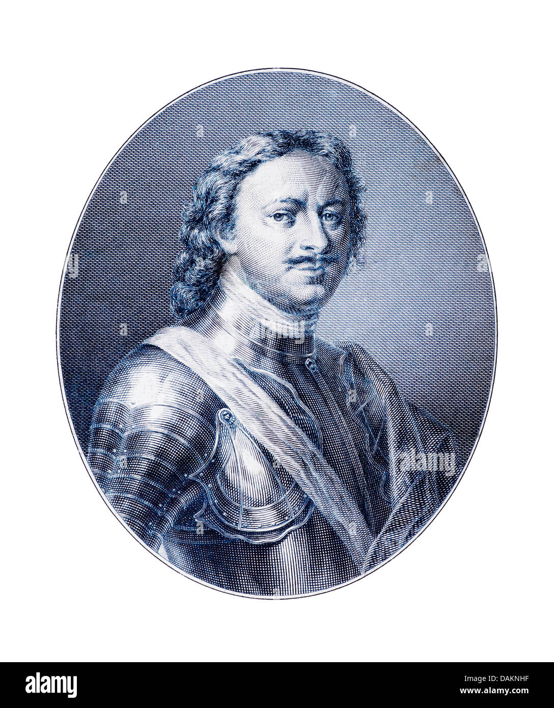 Engraving of Peter I (the Great) Emperor of Russia (1682-1725). - Stock Image