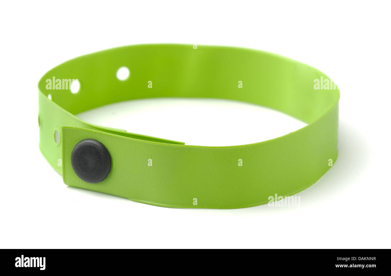 Green plastic ID wristband for hotel or hospital isolated on white - Stock Image