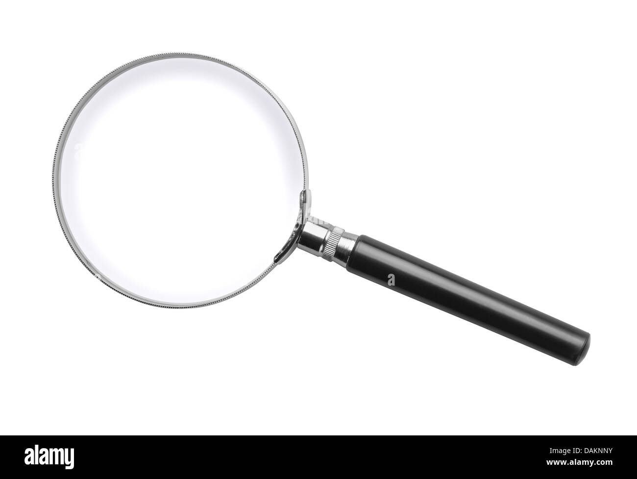 Classic magnifying glass isolated on white - Stock Image