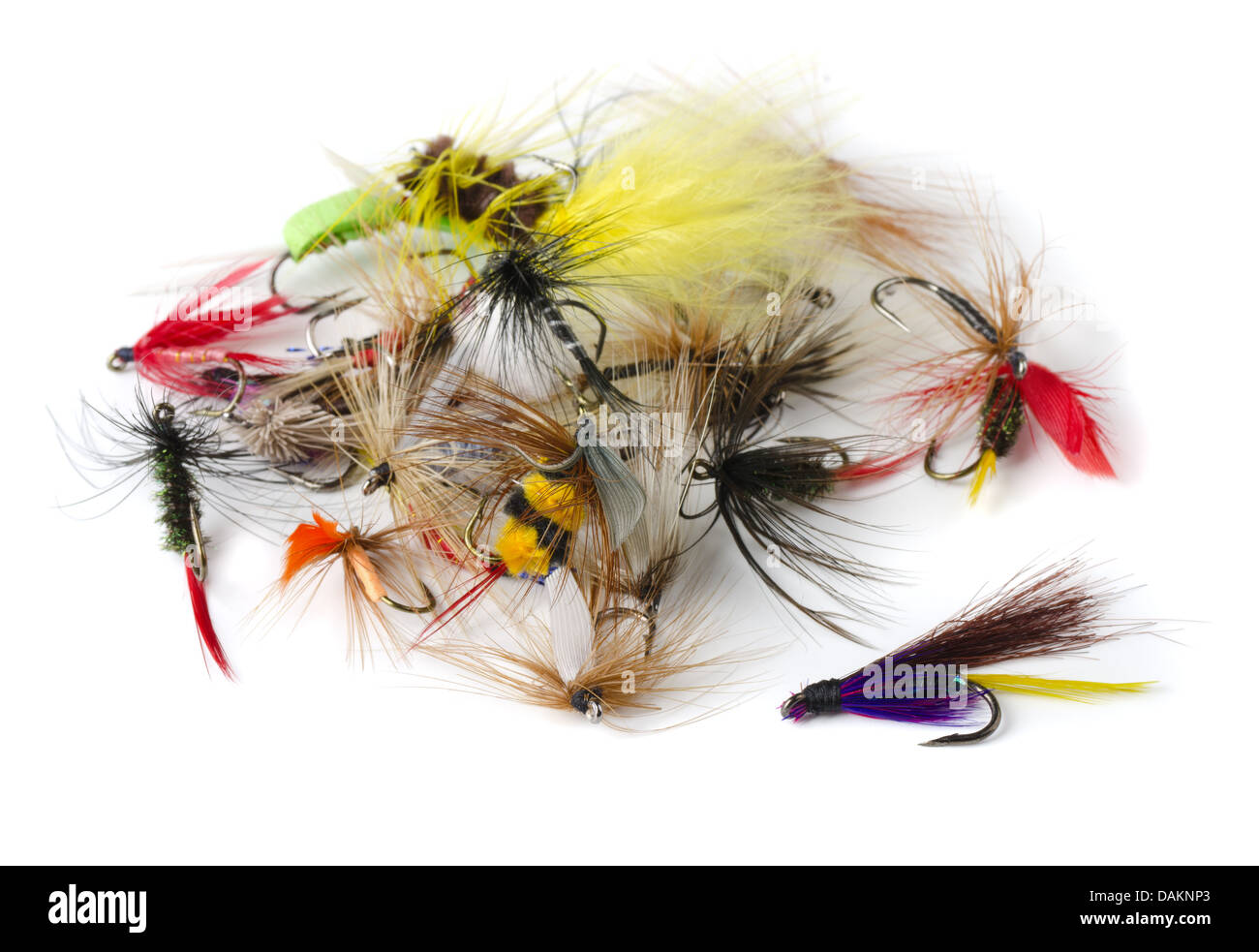 Various fly fishing lures - nymphs, dry flies and streamers isolated on white Stock Photo