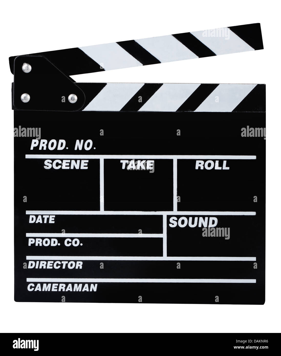Classic black movie clapper board isolated on white - Stock Image