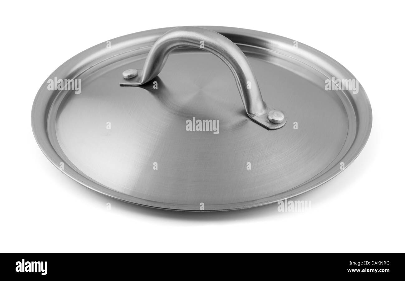 Stainless steel pan lid isolated on white - Stock Image