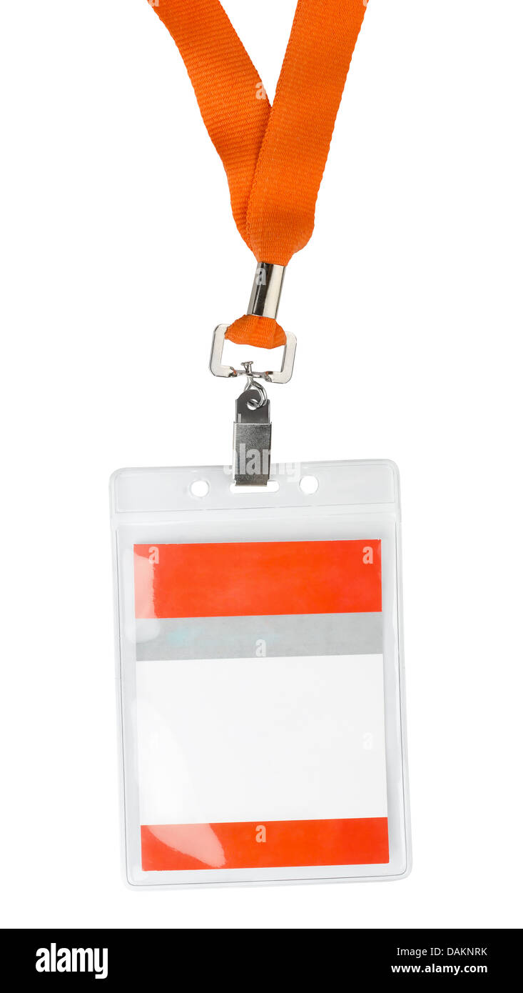 Id plastic badge holder with orange lace isolated on white - Stock Image
