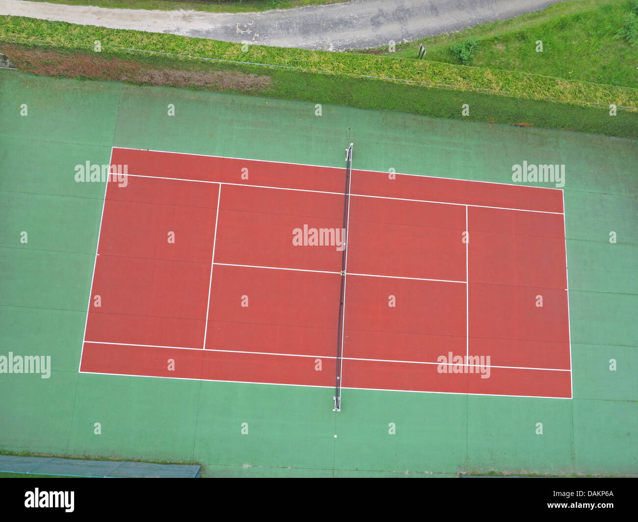 aerial view to tennis court, Germany, North Rhine-Westphalia - Stock Image