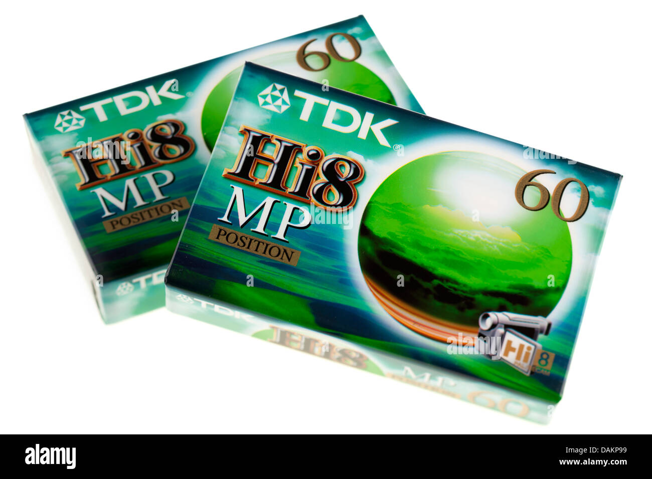 Two packs of 60 minute HI8 8mm camcorder analogue recording tape from TDK - Stock Image