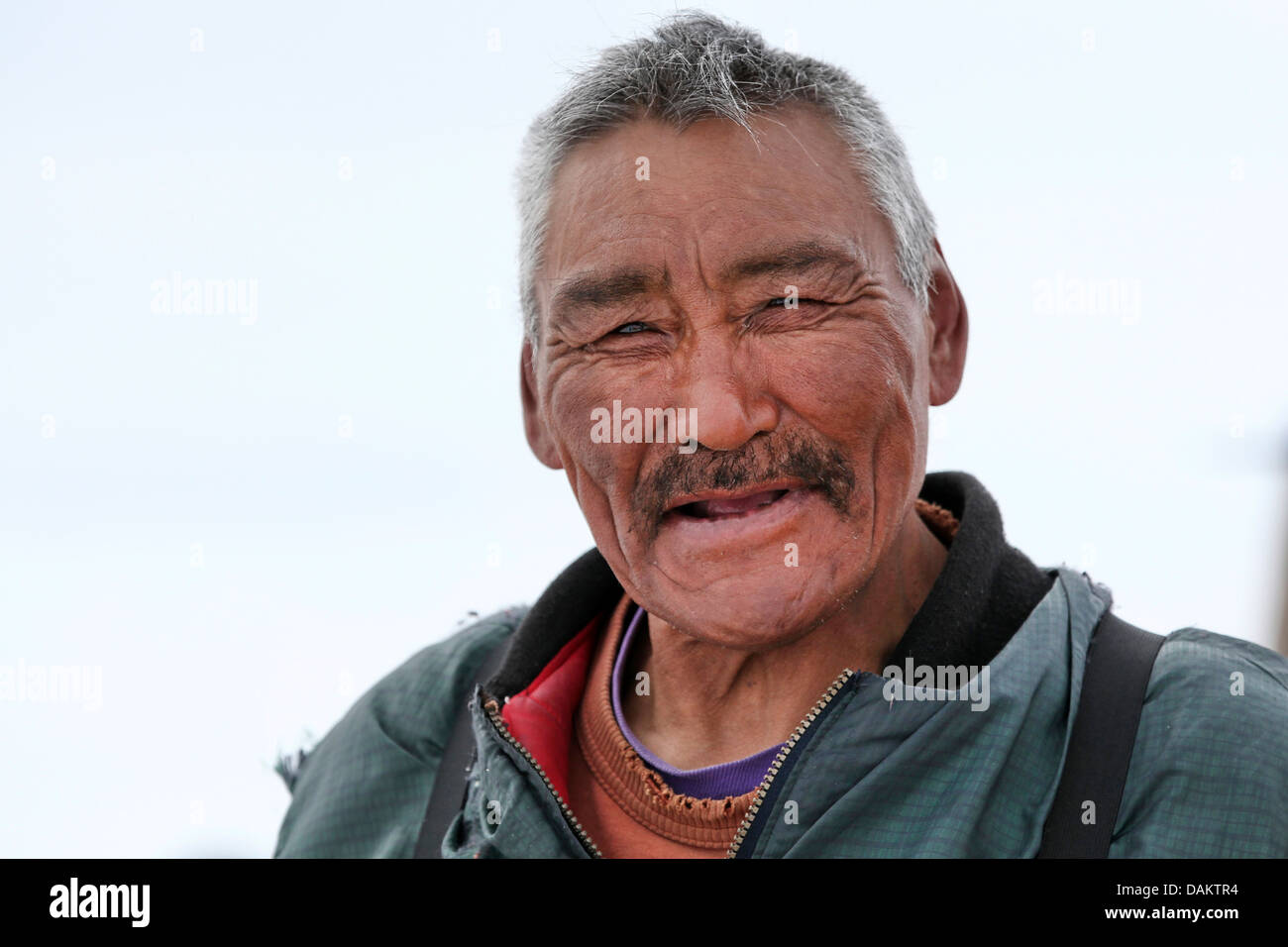 portrait of a friendly inuit, Canada, Nunavut - Stock Image
