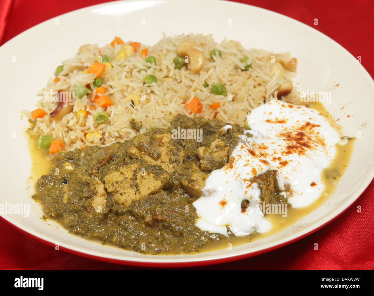 A meal of chicken saag spinach curry served with yoghurt and stock a meal of chicken saag spinach curry served with yoghurt and chilli and a vegetable pulau rice forumfinder Images