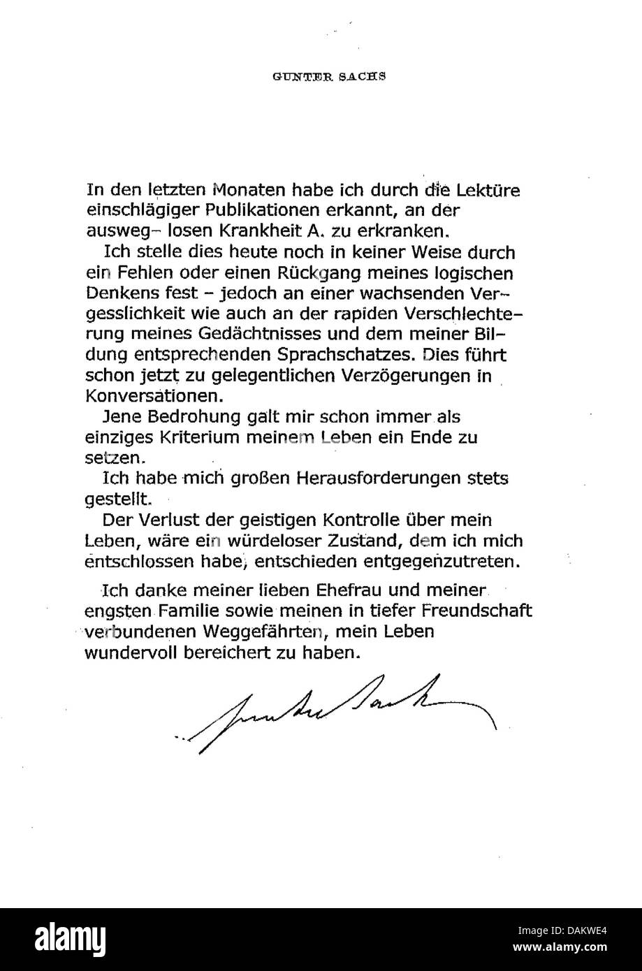 A facsimile of the farewell letter of Gunter Sachs, who killed himself because of a severe illness, is pictured Stock Photo