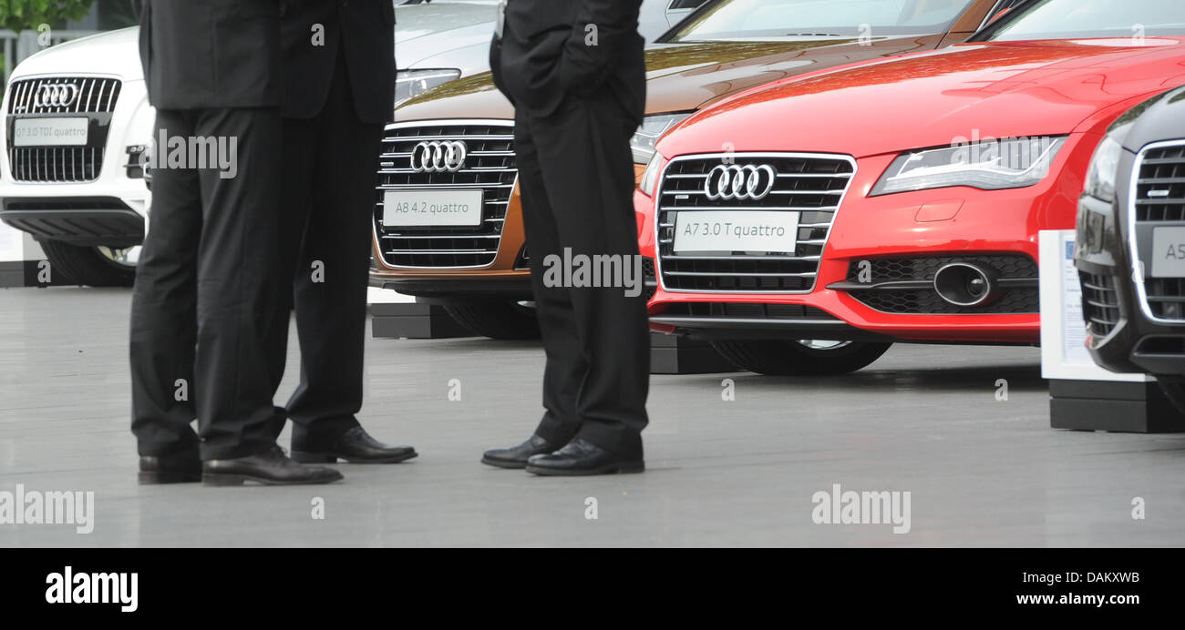 Different Models Audi Cars Are Lined Up In Front Of The Audi Forum In Stock Photo Alamy
