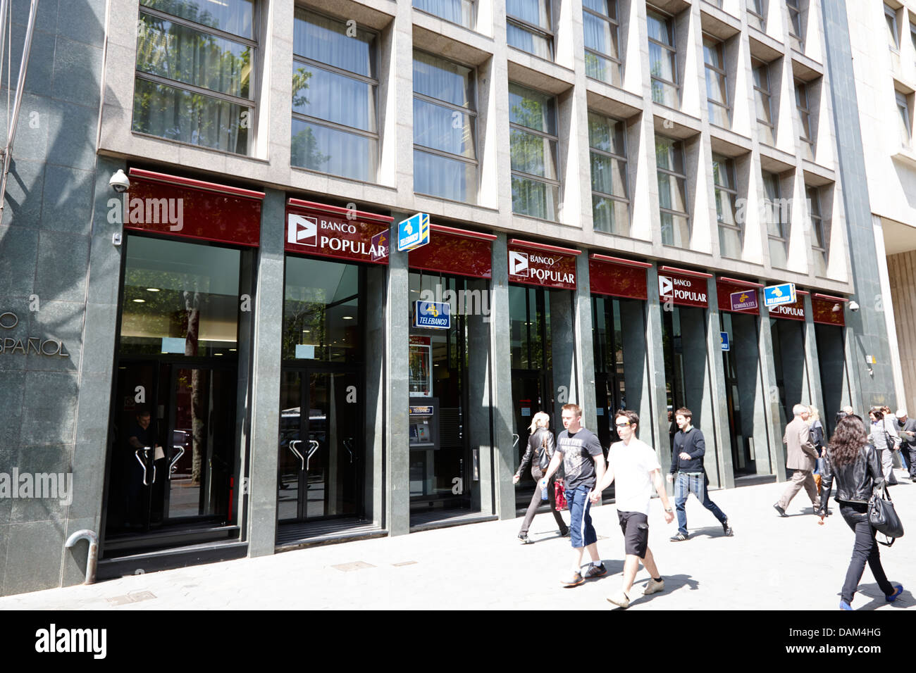 branch of banco popular espanol Barcelona Catalonia Spain - Stock Image