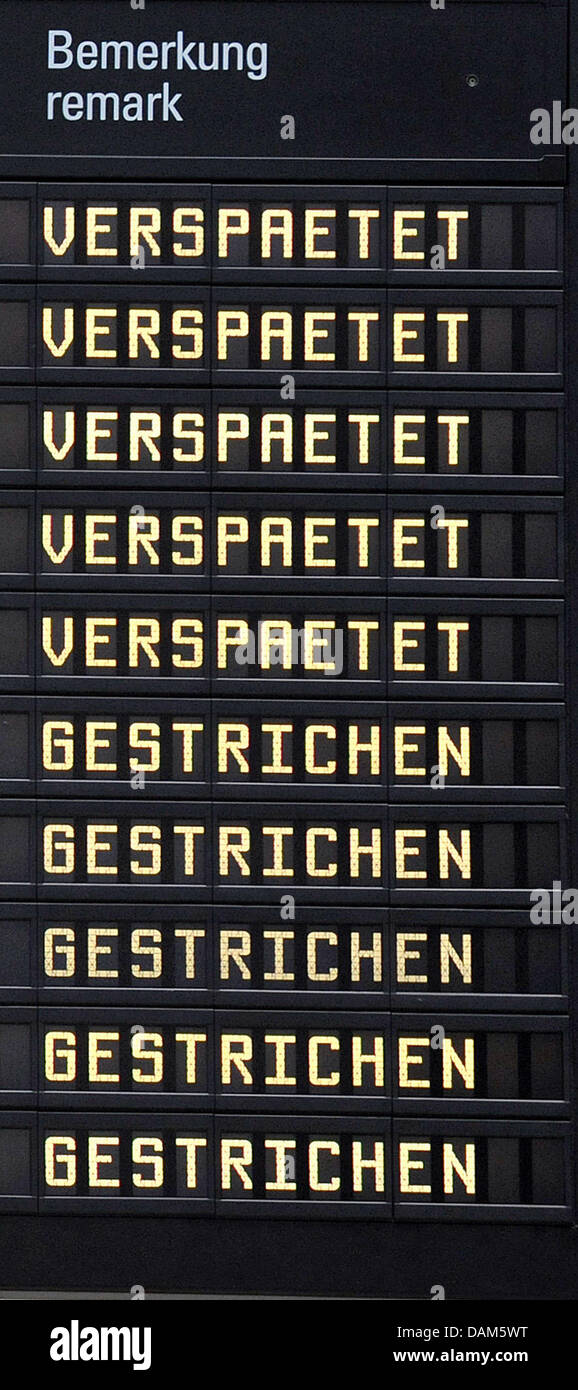 A destination board informs passengers on cancelled and delayed flights at the airport in Bremen, Germany, 25 May Stock Photo