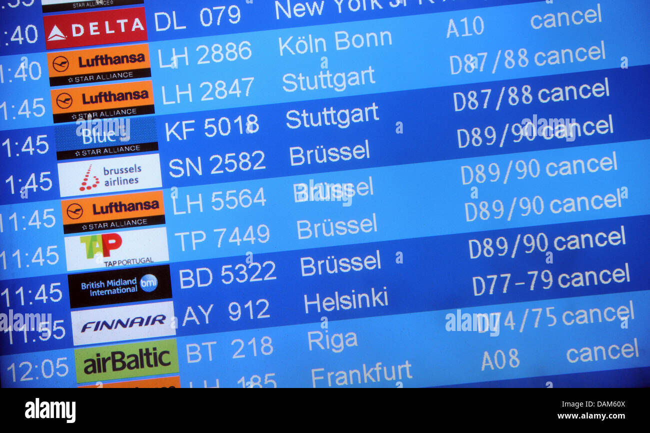 A destination board indicates cancelled flights at the airport Tegel in Berlin, Germany, 25 may 2011. An ash cloud - Stock Image
