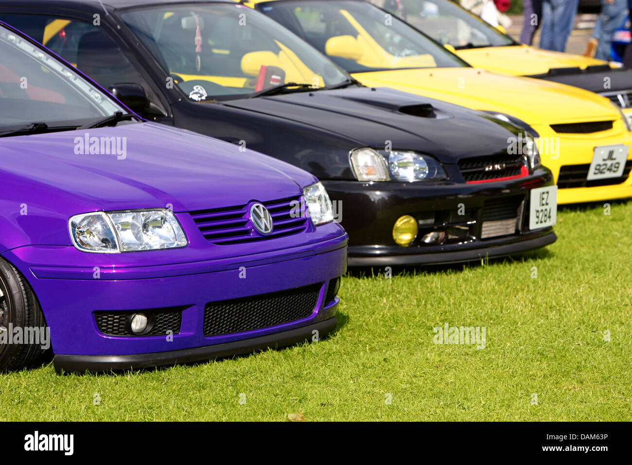 performance modified lowered car show meet in the uk - Stock Image