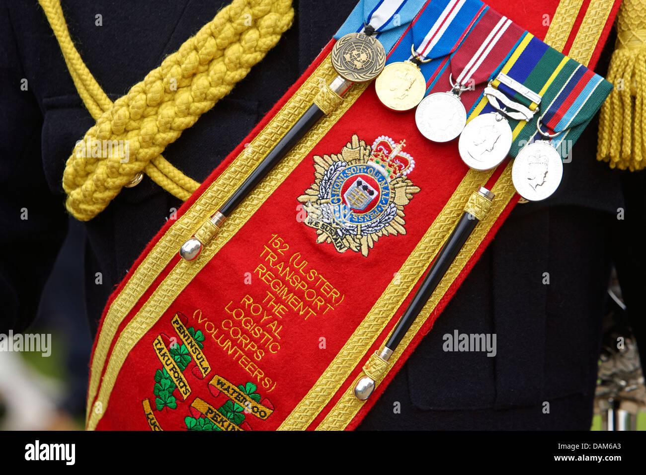 service medals on sash of dress uniform 152 transport regiment uk - Stock Image