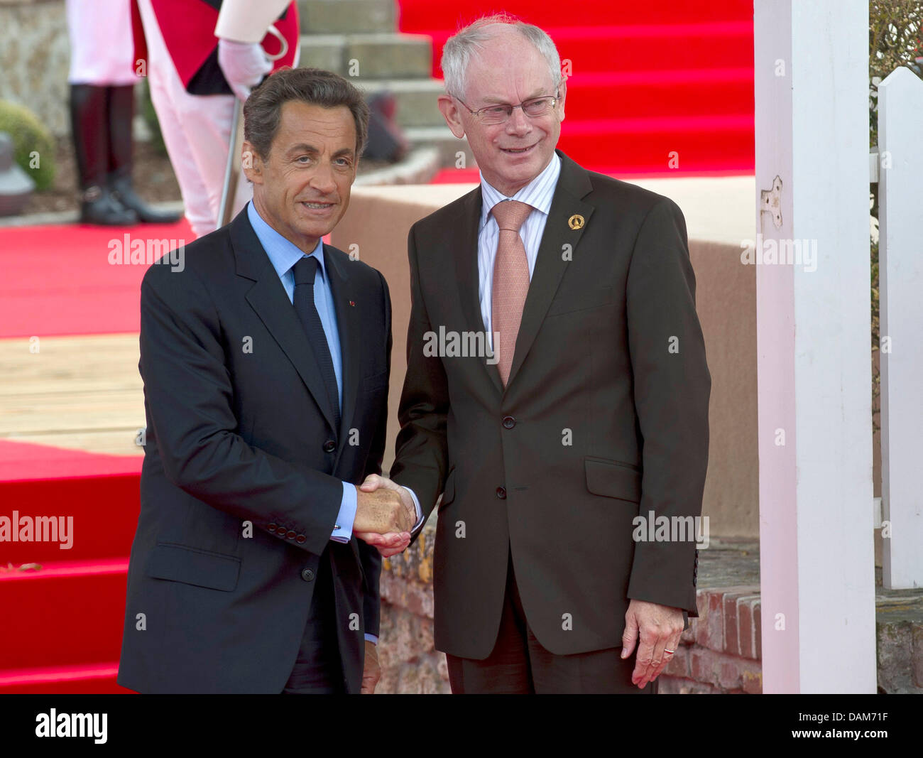 French president nicolas sarkozy r and eu council president herman french president nicolas sarkozy r and eu council president herman van rompuy greet each other before the g8 summit in deauville germany 26 may 2011 m4hsunfo