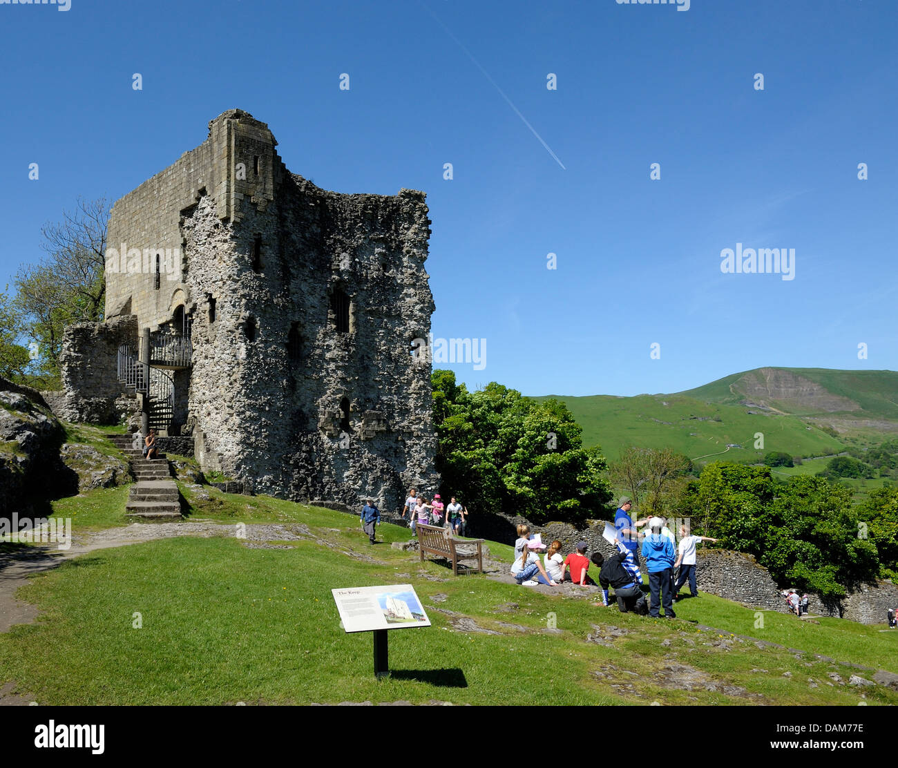 schoolchildren inside the grounds of Peveril castle Castleton Derbyshire England uk - Stock Image