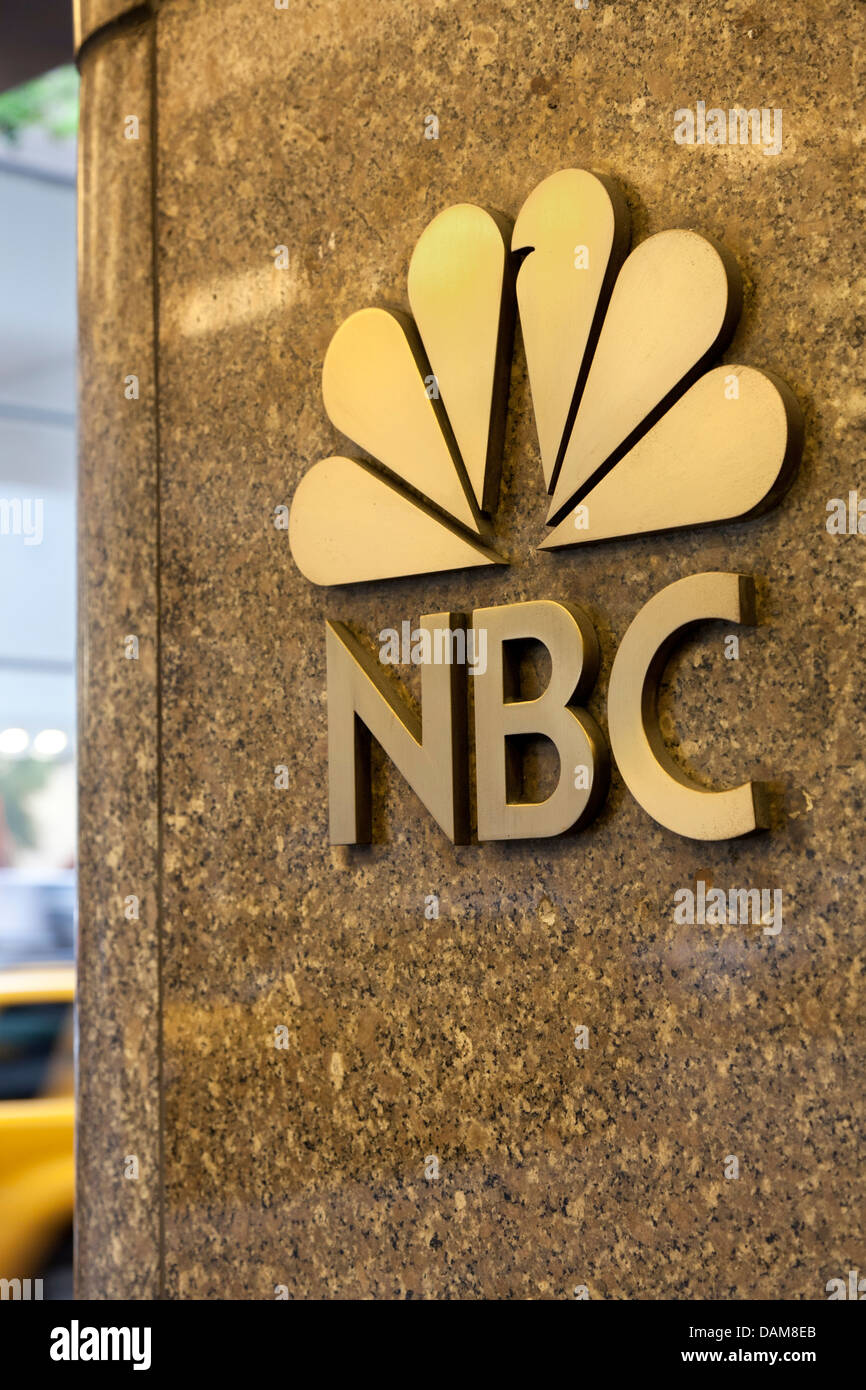 Sign of NBC, Manhattan, NYC - Stock Image