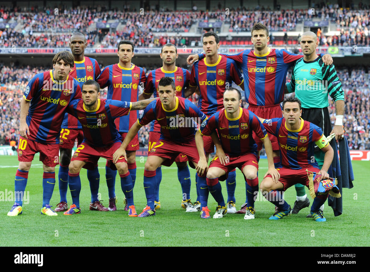 FCBarcelona players pose beofre the UEFA Champions League final match FC Barcelona vs. Manchester United at - Stock Image