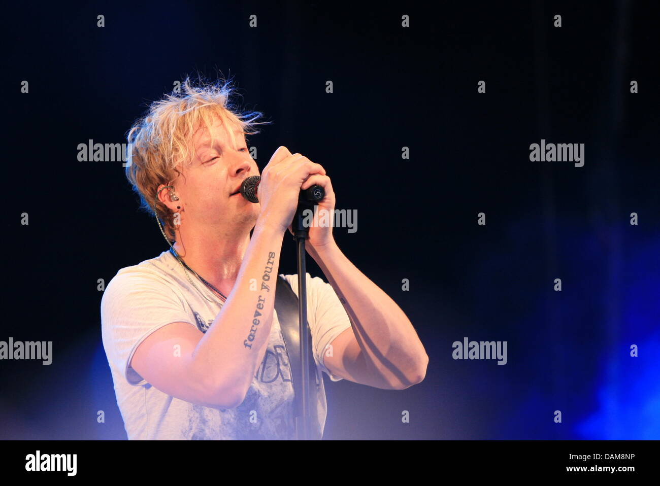 Sunrise Avenue singer Samu Haber from Finland performs at the Schlossgraben festival in Darmstadt, Germany, - Stock Image