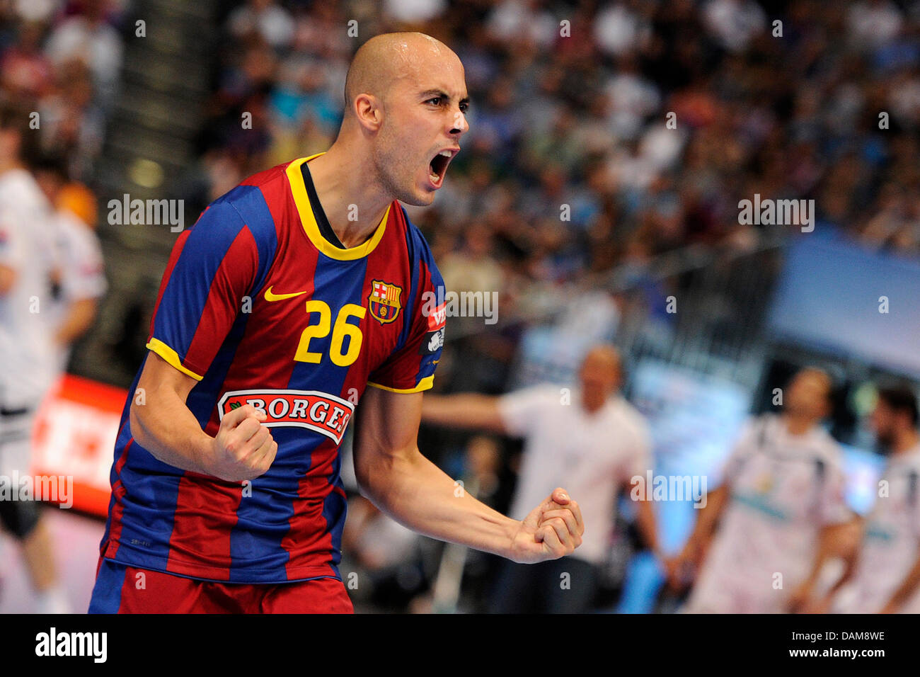 Barcelona's Albert Rocas Comas celebrates in the handball Champions League final match FC Barcelona Borges vs. - Stock Image
