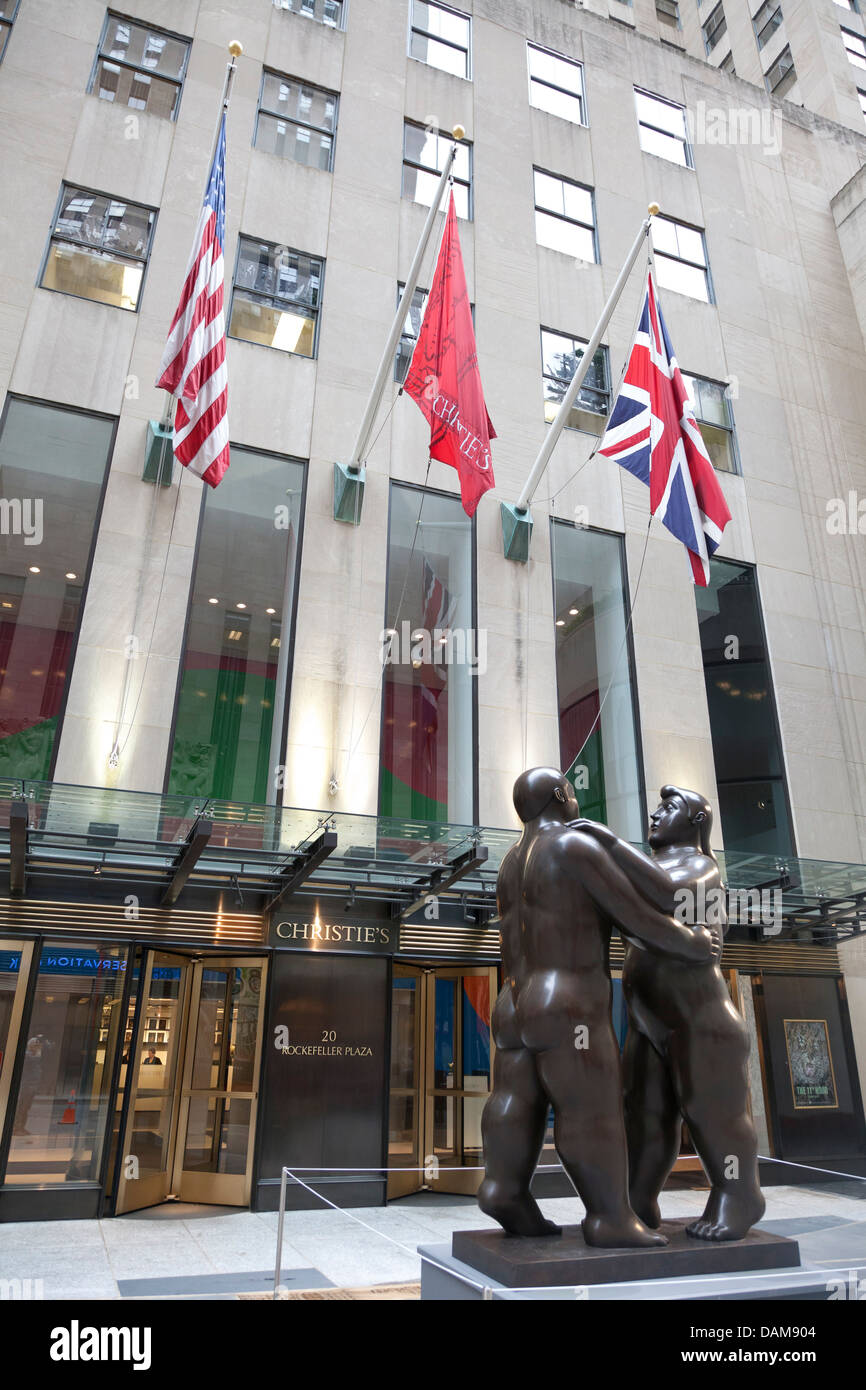 Entrance of Christies at Rockefeller Plaza, Manhattan, NYC - Stock Image