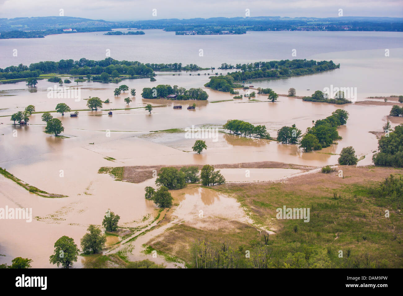 Lachsgang und Feldwieserbucht at lake Chiemsee flooded in June 2013, Germany, Bavaria, Lake Chiemsee - Stock Image