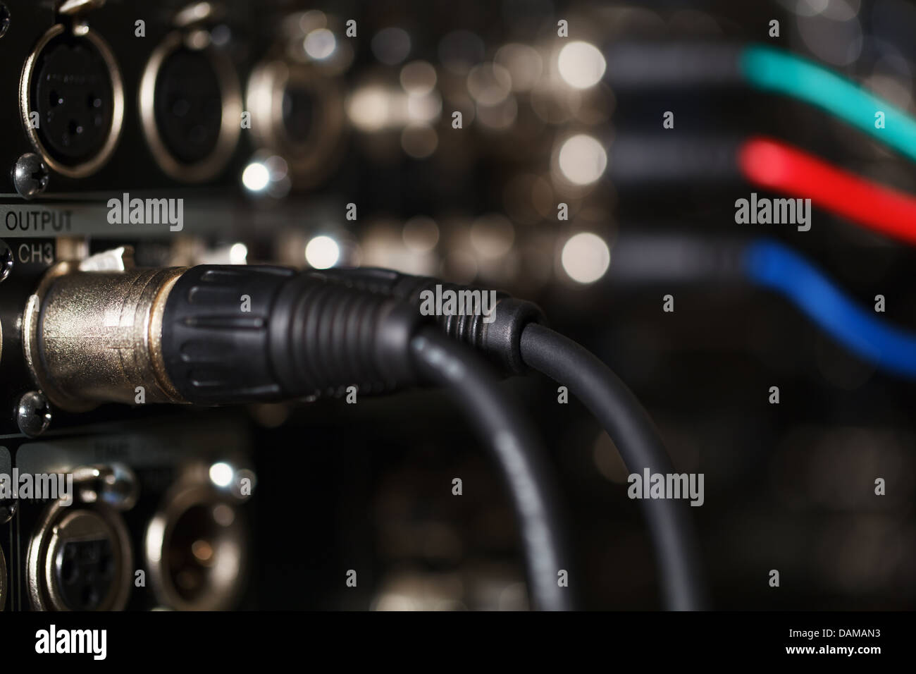 Audio XLR cables in the pro recorder. - Stock Image