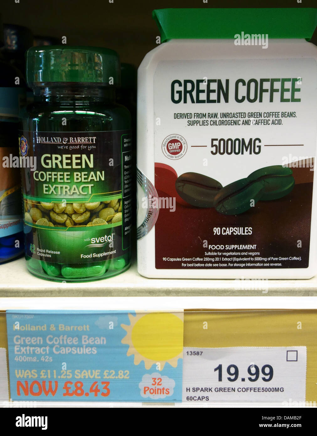 Green Coffee Bean Extract Food Supplement In Health Food Shop