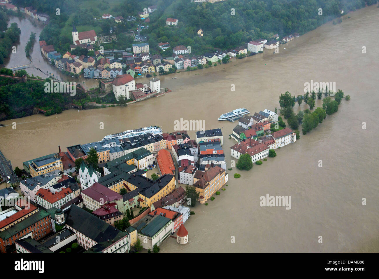 confluence of rivers Inn, Danube and Ilz in Passau flooded in June 2013, Germany, Bavaria, Passau - Stock Image